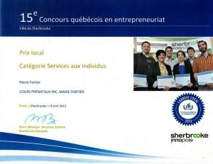 Lauréate locale du Concours québécois en entrepreneuriat - Estrie