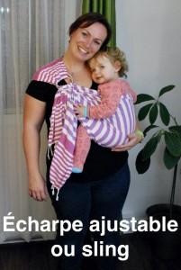 Photo - Le portage avec une écharpe ajustable ou sling